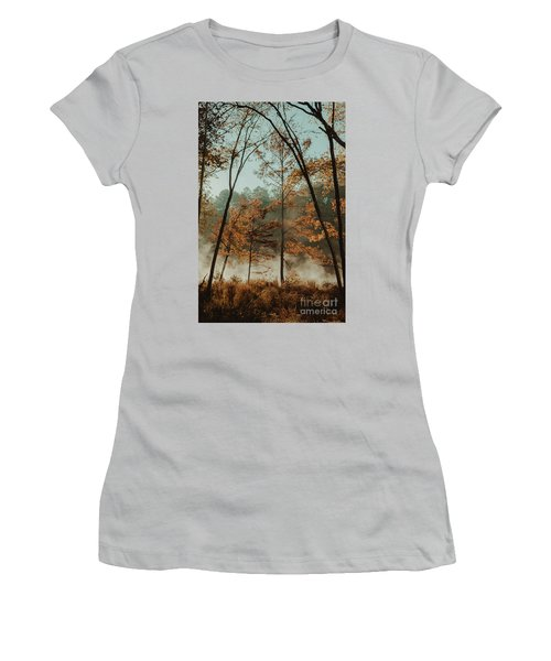 Women's T-Shirt (Junior Cut) featuring the photograph Morning Fog At The River by Iris Greenwell