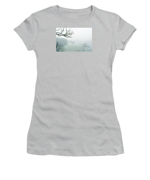 Women's T-Shirt (Junior Cut) featuring the photograph Morning Fog - Winter In Switzerland by Susanne Van Hulst