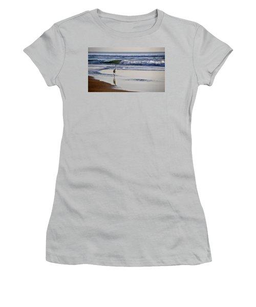 Women's T-Shirt (Junior Cut) featuring the photograph Morning Walk At Ormond Beach by Steven Sparks