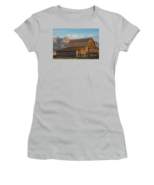 Women's T-Shirt (Athletic Fit) featuring the photograph Moulton Homestead - Barn At Morning Light by Colleen Coccia