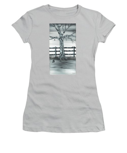 Women's T-Shirt (Junior Cut) featuring the painting Mouse House by Kenneth Clarke