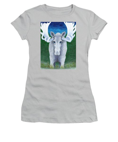 Mr. Moose Women's T-Shirt (Junior Cut) by Rebecca Parker