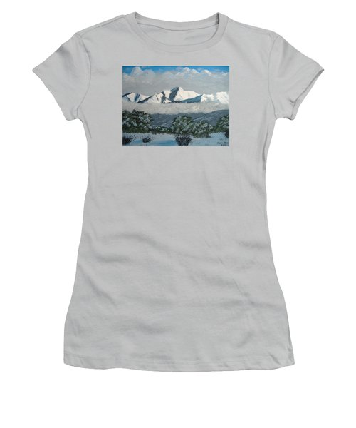Women's T-Shirt (Junior Cut) featuring the painting Mt Princeton Co by Norm Starks