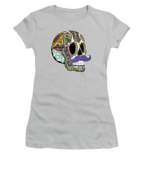 Mustache Sugar Skull Vintage Style Women's T-Shirt (Junior Cut)