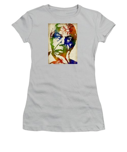 Nelson Mandela Watercolor Women's T-Shirt (Junior Cut) by Mihaela Pater