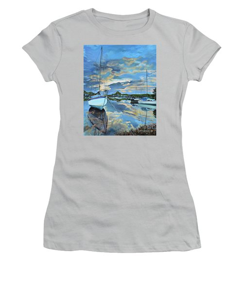 Women's T-Shirt (Athletic Fit) featuring the painting Nestled In For The Night At Mylor Bridge - Cornwall Uk - Sailboat  by Jan Dappen