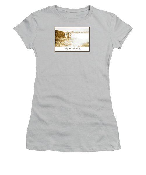 Women's T-Shirt (Junior Cut) featuring the photograph Niagara Falls Ferry Boat 1904 Vintage Photograph by A Gurmankin