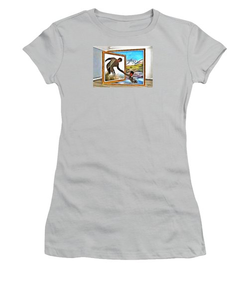 Women's T-Shirt (Junior Cut) featuring the painting Night At The Art Gallery - One To Another by Wayne Pascall