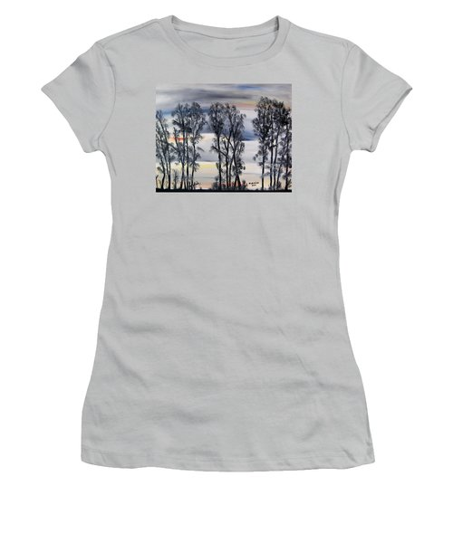 Women's T-Shirt (Junior Cut) featuring the painting Nightfall Approaching by Marilyn  McNish