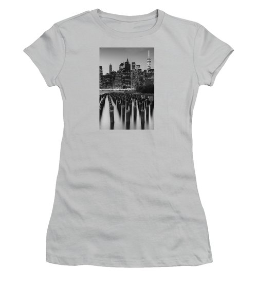 Women's T-Shirt (Junior Cut) featuring the photograph Nyc Skyline Bw by Laura Fasulo