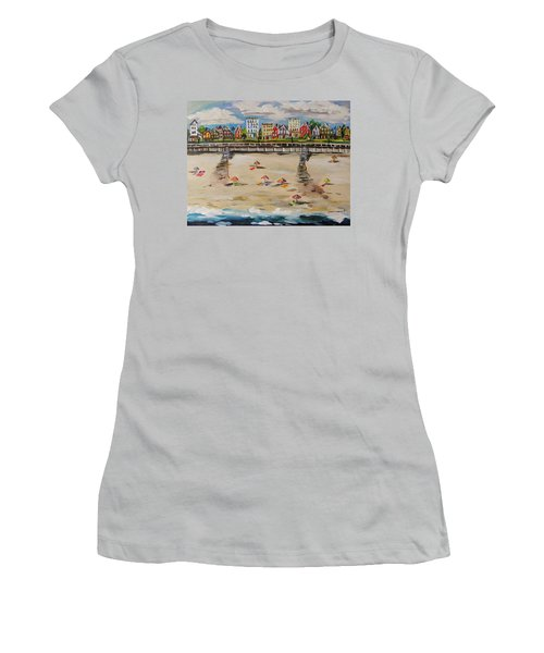 Women's T-Shirt (Junior Cut) featuring the painting Ocean Ave By John Williams by John Williams