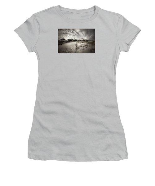 Ocean City Bw Women's T-Shirt (Junior Cut) by John Loreaux
