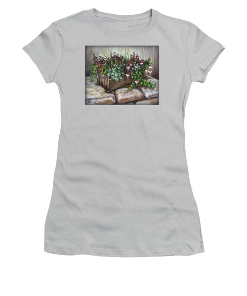 Women's T-Shirt (Junior Cut) featuring the painting Old Flower Box by Kim Lockman