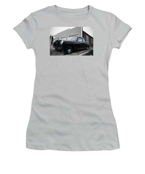 Old Mercedes Sitting At The Shop - Color On Black And White Women's T-Shirt (Junior Cut) by Janice Adomeit