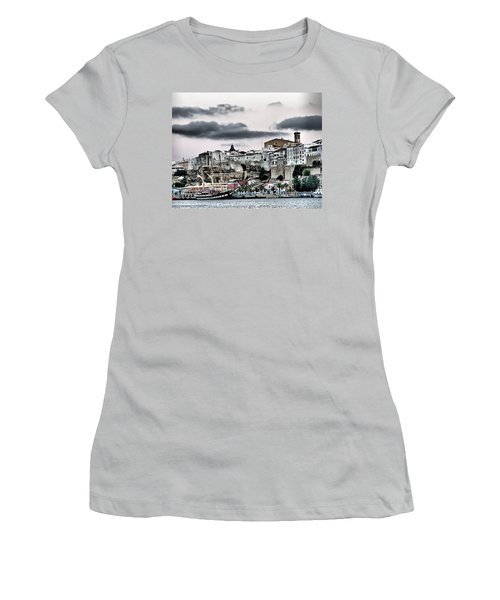 Old Port Mahon And Italian Sail Training Vessel Palinuro Hdr Women's T-Shirt (Junior Cut) by Pedro Cardona