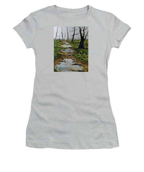 Women's T-Shirt (Junior Cut) featuring the painting Old Walking Trail by Jack G  Brauer