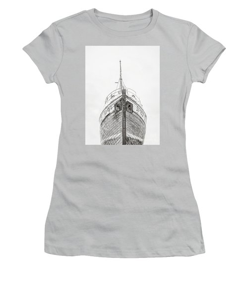 Women's T-Shirt (Athletic Fit) featuring the photograph Old Wooden Fishing Boat In The Fog Iceland by Edward Fielding