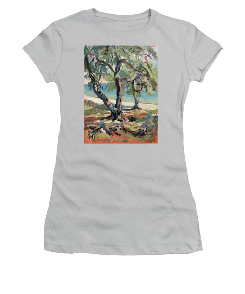 Olive Trees Along Marmari Beach Paxos Women's T-Shirt (Athletic Fit)
