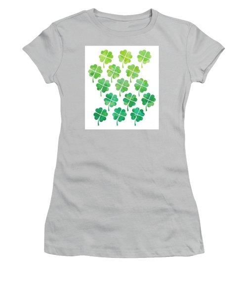 Ombre Shamrocks Women's T-Shirt (Junior Cut) by Whitney Morton