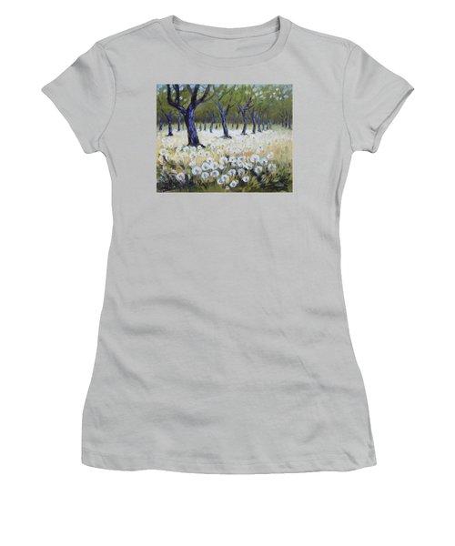Orchard With Dandelions Women's T-Shirt (Junior Cut) by Irek Szelag