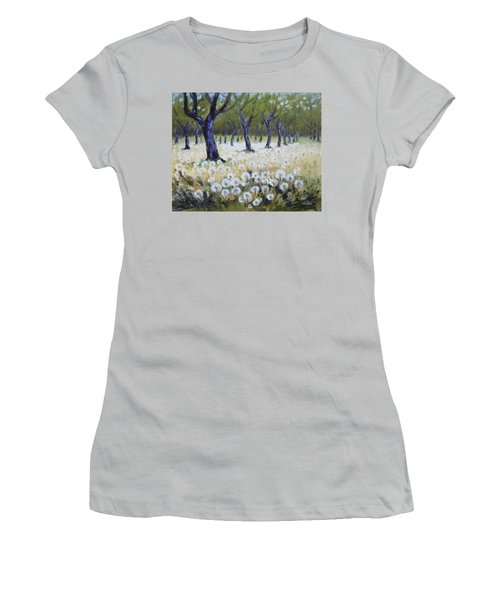 Orchard With Dandelions Women's T-Shirt (Athletic Fit)