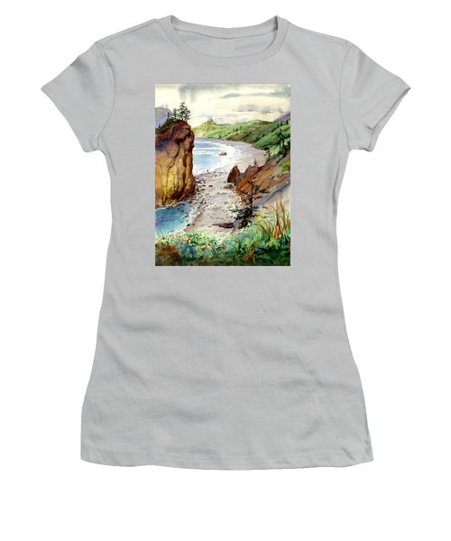 Women's T-Shirt (Junior Cut) featuring the painting Oregon Coast #3 by John Norman Stewart