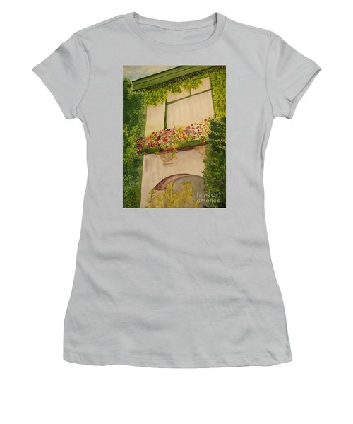 Women's T-Shirt (Junior Cut) featuring the painting Overlooking Butchard Gardens  by Vicki  Housel