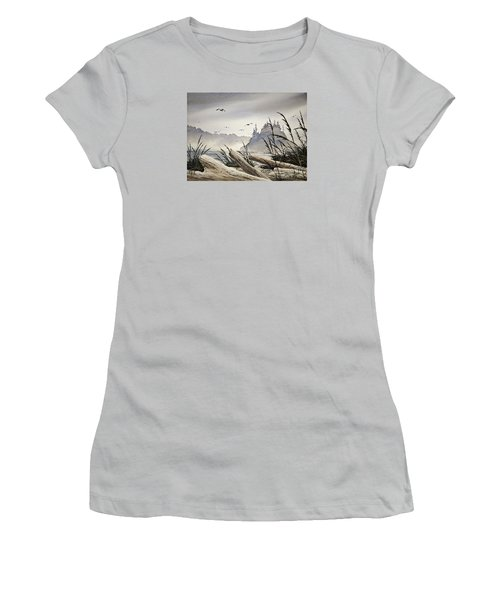 Pacific Northwest Driftwood Shore Women's T-Shirt (Athletic Fit)