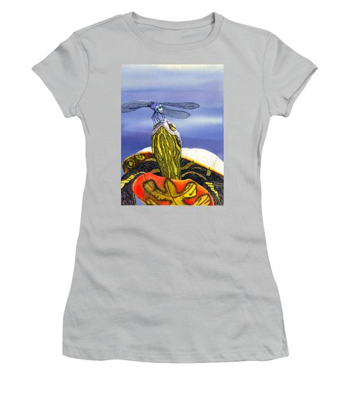 Painted Turtle And Dragonfly Women's T-Shirt (Athletic Fit)