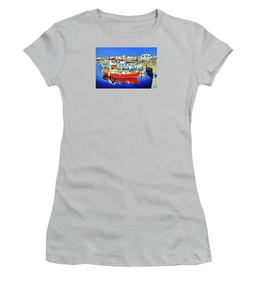 Paros Fishing Boats Women's T-Shirt (Athletic Fit)