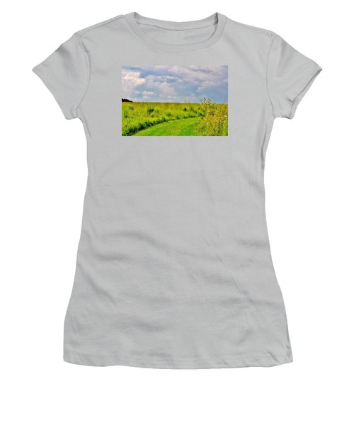 Pathway Through Wildflowers Women's T-Shirt (Athletic Fit)