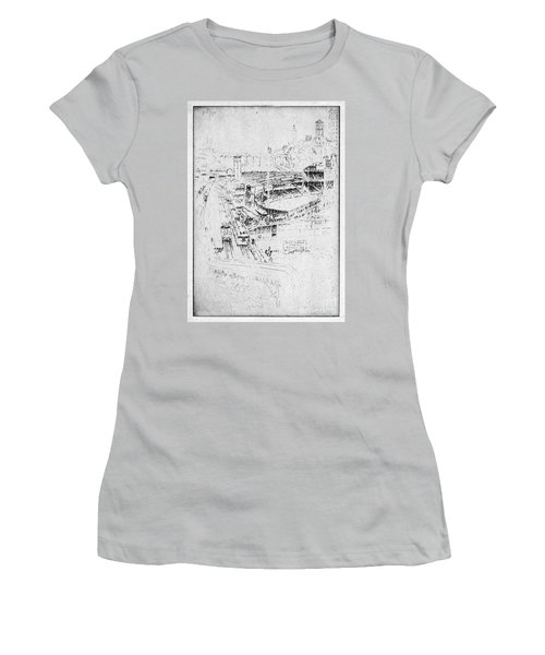 Women's T-Shirt (Junior Cut) featuring the drawing Pennell Polo Grounds 1921 by Granger