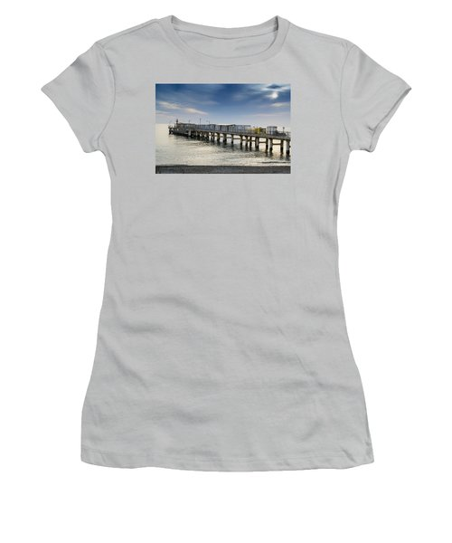 Pier At Sunset Women's T-Shirt (Junior Cut) by John Williams