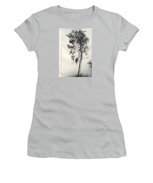 Women's T-Shirt (Junior Cut) featuring the drawing Pine Drawing by Maja Sokolowska