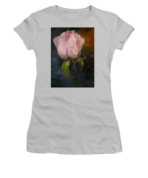 Pink Floral Bud Women's T-Shirt (Junior Cut) by Michele Carter