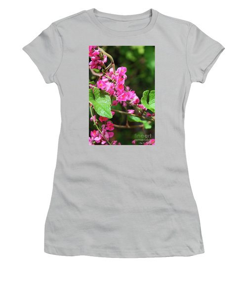 Women's T-Shirt (Athletic Fit) featuring the photograph Pink Flowering Vine3 by Megan Dirsa-DuBois