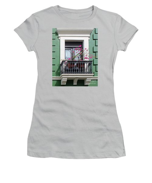 Pink Flowers On Balcony Women's T-Shirt (Athletic Fit)