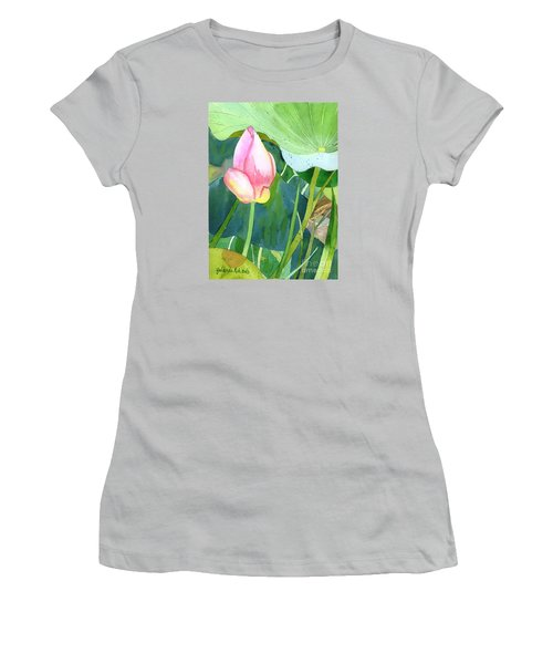 Women's T-Shirt (Junior Cut) featuring the painting Pink Lotus by Yolanda Koh