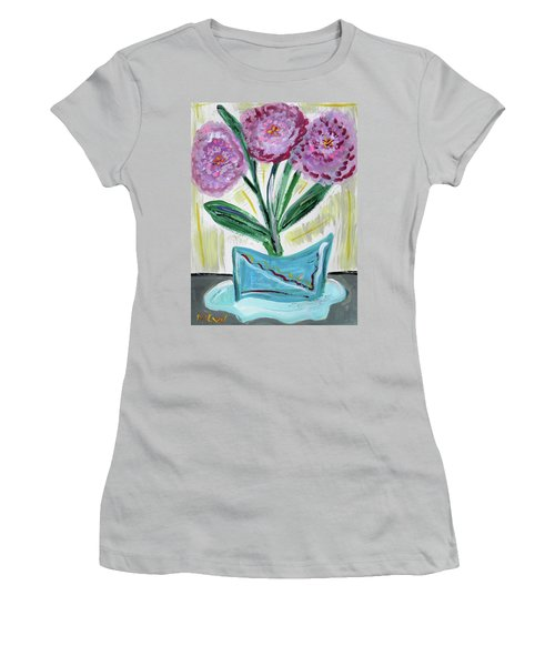 Pink Peonies-gray Table Women's T-Shirt (Athletic Fit)