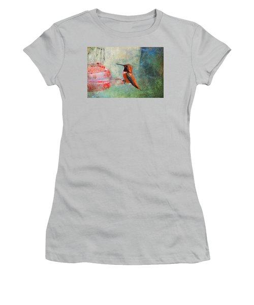 Plate 048 - Hummingbird Grunge Series Women's T-Shirt (Athletic Fit)
