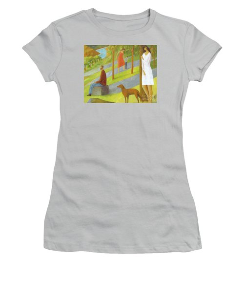 Women's T-Shirt (Junior Cut) featuring the painting Poets Hill by Glenn Quist