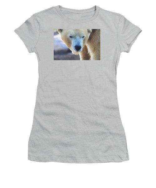 Polar Bear Wooden Texture Women's T-Shirt (Junior Cut) by Dan Sproul
