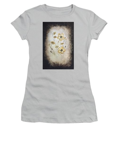 Poppies On Black Women's T-Shirt (Athletic Fit)