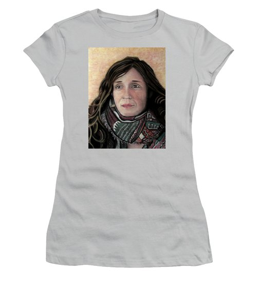 Women's T-Shirt (Junior Cut) featuring the pastel Portrait Of Katy Desmond, C. 2017 by Denny Morreale