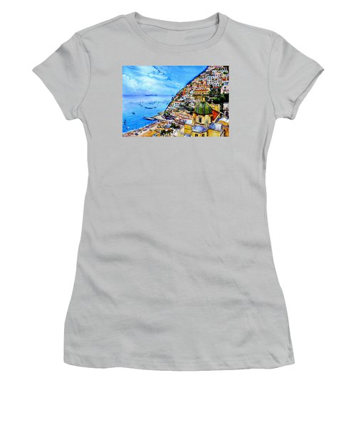 Women's T-Shirt (Athletic Fit) featuring the painting Positano by Hanne Lore Koehler