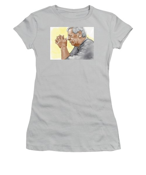 Women's T-Shirt (Junior Cut) featuring the painting Prayer Of A Righteous Man by Antonio Romero