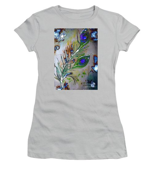 Women's T-Shirt (Athletic Fit) featuring the painting Pretty As A Peacock by Denise Tomasura