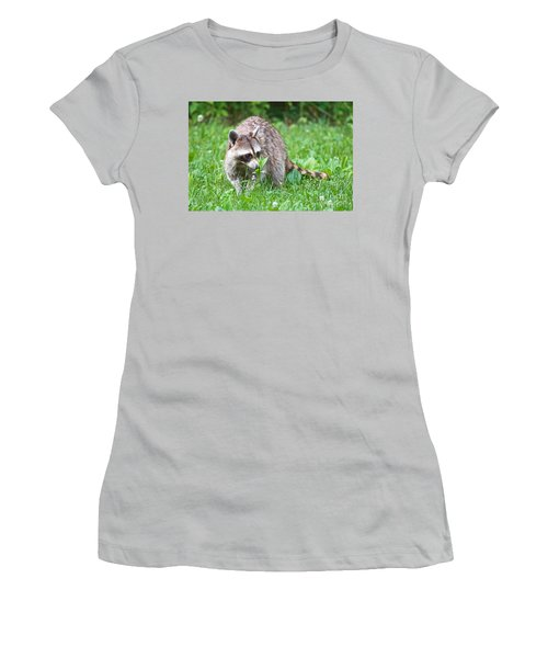 Raccoon Smelling Flowers Women's T-Shirt (Athletic Fit)