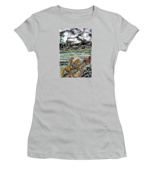 Women's T-Shirt (Junior Cut) featuring the drawing Racing The Lightning Home by Dawn Senior-Trask