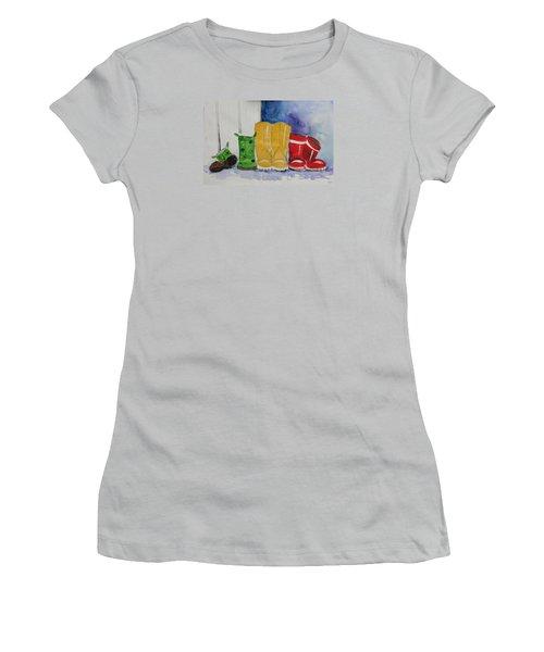 Rainboots Women's T-Shirt (Junior Cut) by Terri Einer